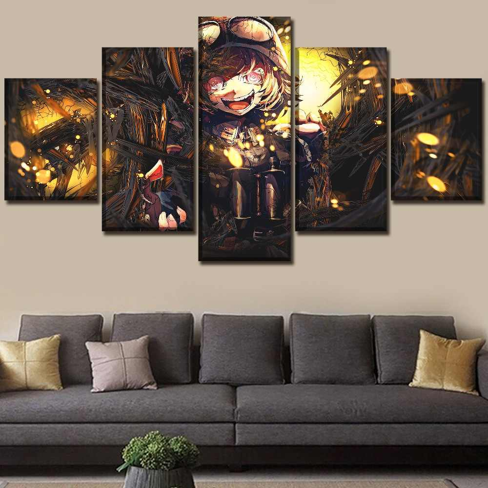 5 Piece Anime Youjo Senki Tanya Degurechaff Poster Canvas Print Pictures Decorative Wall Art Framework For Living Room Poster