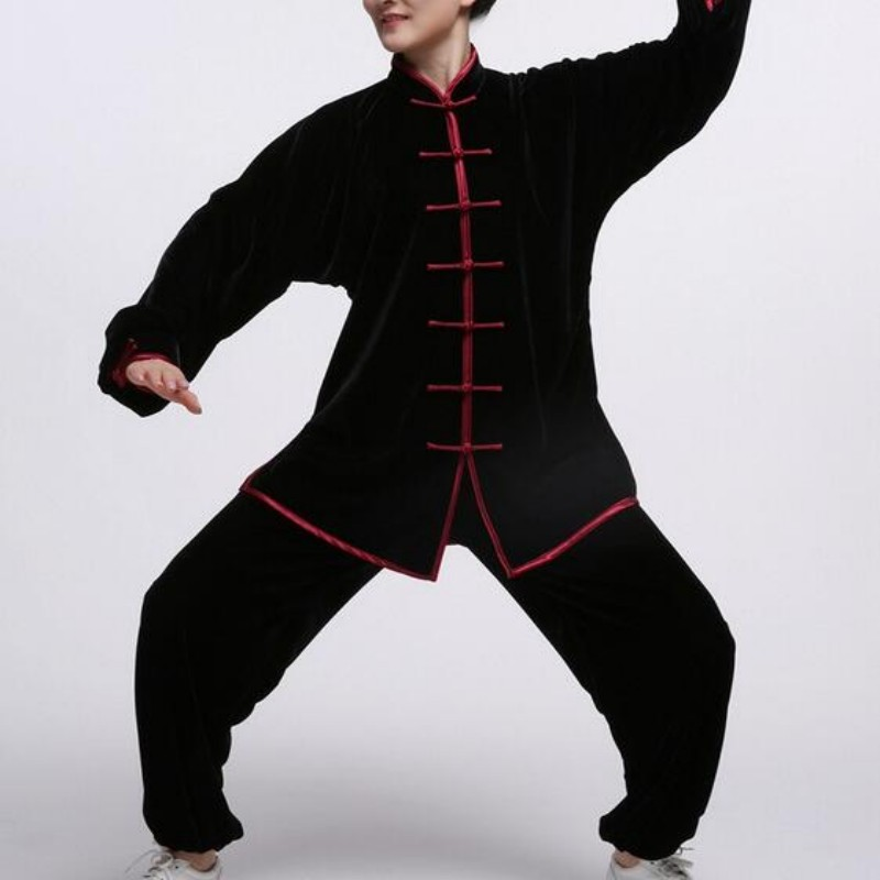 Women Velvet Wing Chun Kung Fu Clothing Tai Ji Wu Shu Costume Full Sleeve Solid Color Martial Arts Sets For Female Plus Size Red