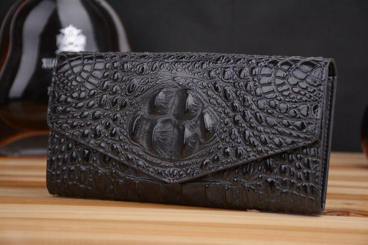 2020 bolsa de couro genuíno das mulheres jacaré carteira titular do dinheiro bolsa embreagem crocodilo longas carteiras bolso da moeda - 6