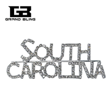 USA States Theme Gift Bling Rhinestone SOUTH CAROLINA State Word Pin Crystal Brooch Jewelry