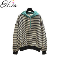 H.SA 2018 Women Korean Casual Pullover and Sweaters Hooded Pull Jumpers Spring cashmere sweater Black White Striped female Pull