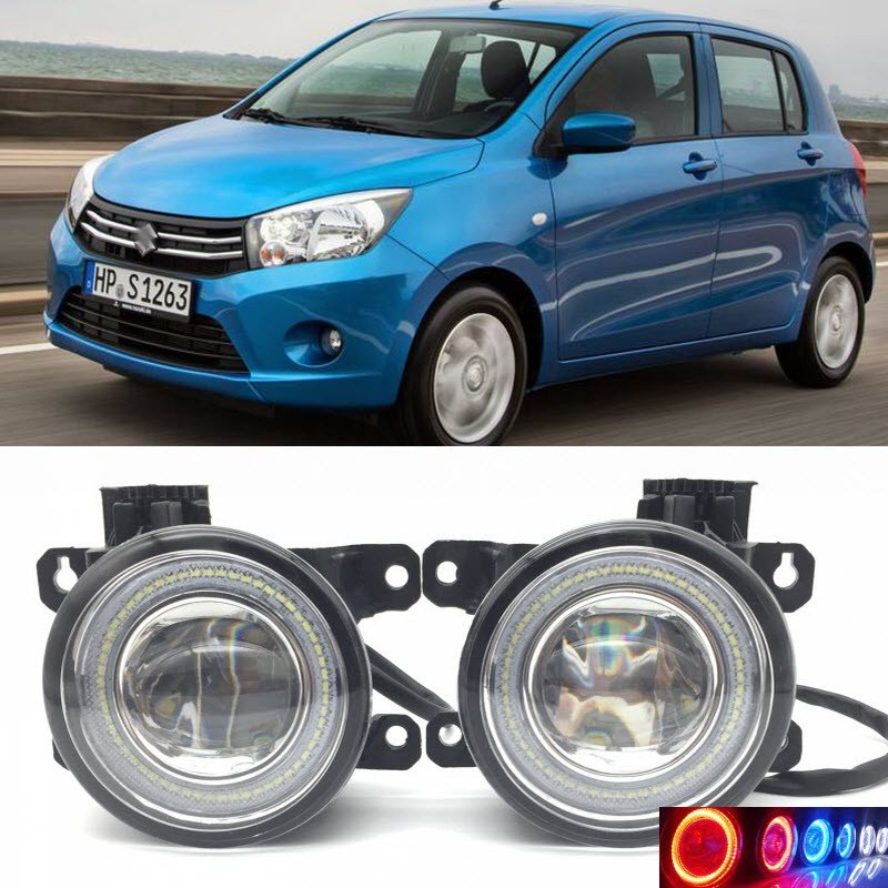 2 in 1 LED Angel Eyes DRL 3 Colors Daytime Running Lights Cut-Line Lens Fog Lamp for Suzuki Celerio 2014 2015 2016 car styling 2 in 1 led angel eyes drl daytime running lights cut line lens fog lamp for land rover freelander lr2 2007 2014