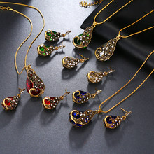 New necklace earrings Vintage Crystal Peacock jewelry sets for women necklaces pendants water earrings Animal Bohemian jewelry(China)