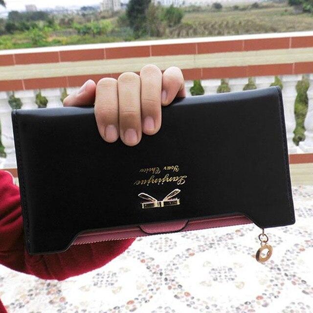 Damski elegancki portfel z wstążką różne kolory