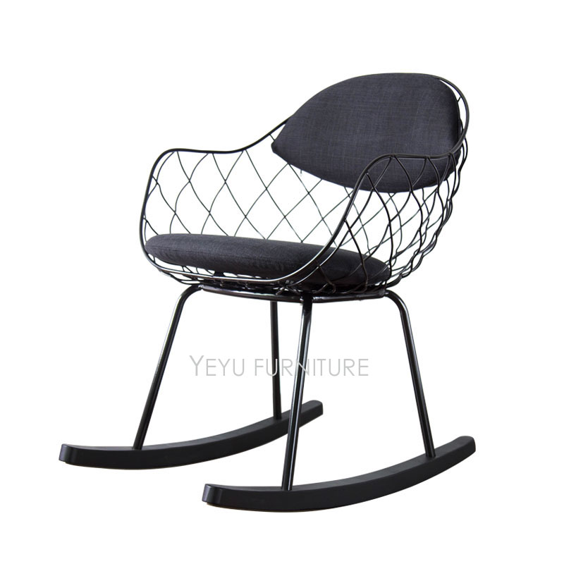 Modern Design Metal Steel Wire Rocking Chair, Living Room Soft Cushion Pad  Solid Wooden Leg Metal Wire Rocker, Loft Lounge Chair In Chaise Lounge From  ...