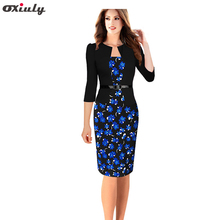 Oxiuly Women s Faux Twinset Belted Tartan Floral Houndstooth Plaid Print Patchwork Work Business Pencil Sheath