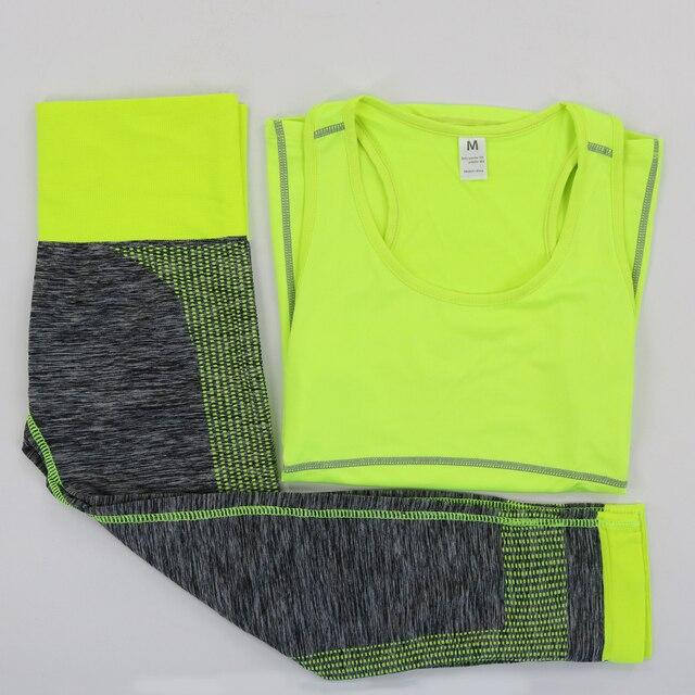 Ladies Matching Gym Set 3/4 Leggings And Vest 2