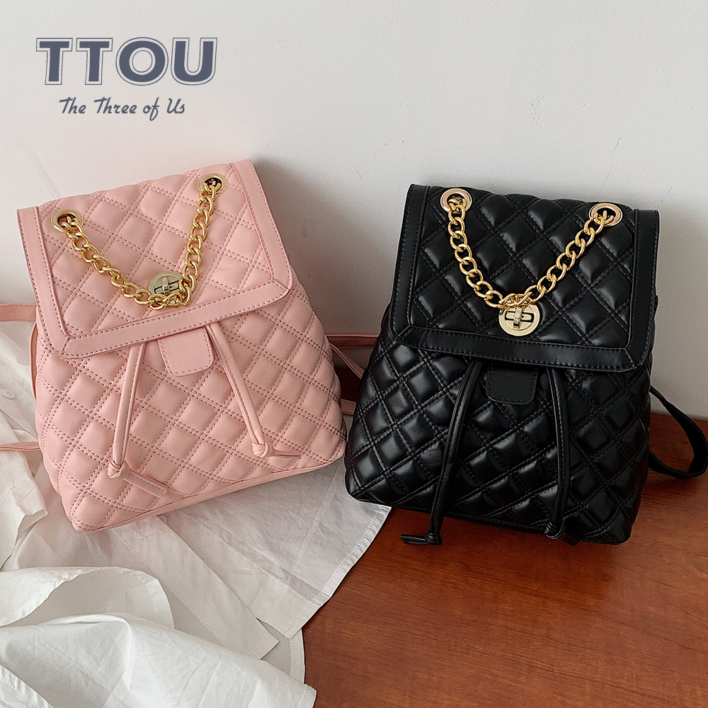 TTOU Fashion Women Leather Backpack Plaid School Bag For Teenage Girls Vintage Chain Female Drawstring Travel Bagpack Mochila