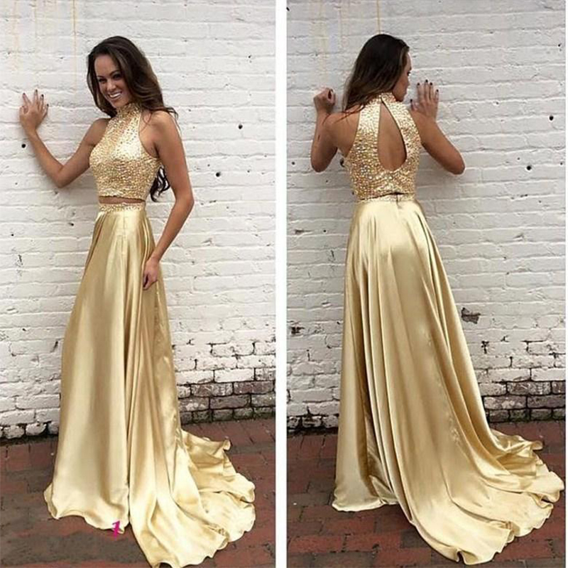 Elegant Gold Two Piece   Prom     Dresses   2019 High Neck Backless Sequined Beaded Crystals Evening Gowns Vestido De Noche On Sale