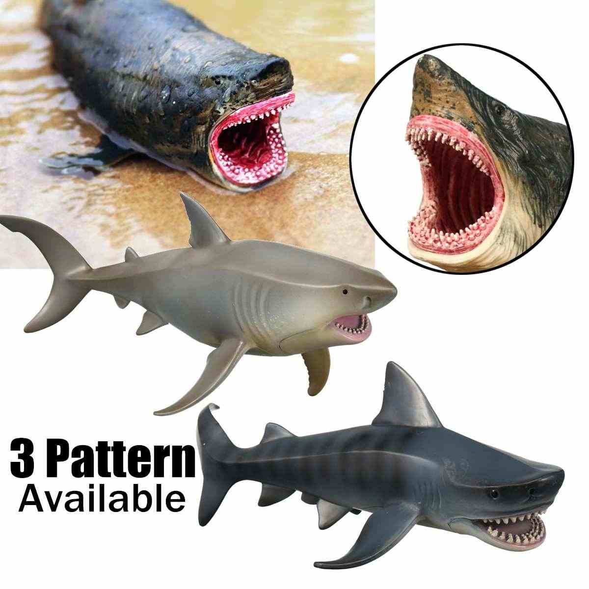 PVC Artificial Papel Timbrado Tubarão Megalodon Tubarão Do Mar Do Oceano Modelo Animal Selvagem Brinquedo Figura Colecionador de Brinquedos Decoração Crianças Presentes
