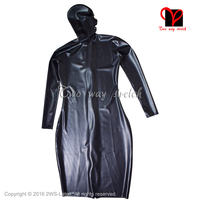 Black Sexy Latex Dress With Hoods Open Eyes Mouth Nose Long sleeves Rubber baby doll Playsuit Bodycon plus size clothing QZ 118