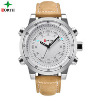 NORTH Digital Quartz Watches Men Luxury Brand Military Sport Men Watch Leather Clock Waterproof Wrist Watch