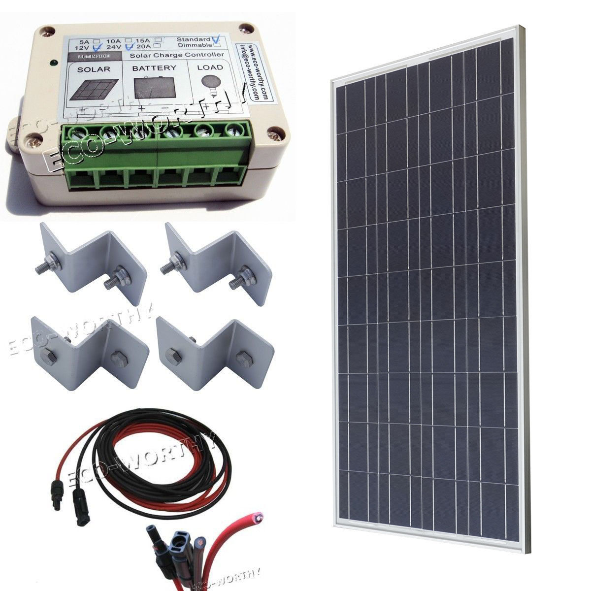 COMPLETE KIT: 100Watt Poly Solar Panel system for 12V RV Boat battery charger eco worthy 40watt solar panel system off grid complete kit photovoltaic poly solar panel for rv boat cabin