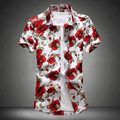 Homens camisa impressão Floral 2017 de Moda de Nova Mens Camisas de manga Curta flores impresso Casual Camisa de Alta Qualidade Camisas Masculinas