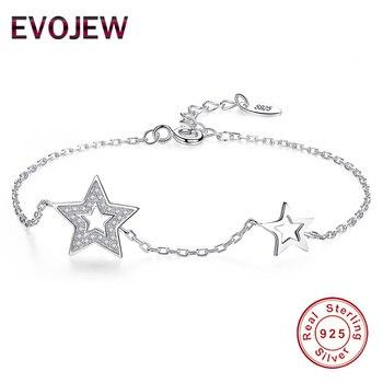 4c99ffe6cd8a EVOJEW Original pulsera de plata 925 para mujer Cubic Zirconia encanto  pulseras y brazaletes de la joyería nupcial de la boda