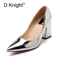 Plus Size 33 43 Women Pumps Fashion Gold Block Thick High Heels Shoes Patent Leather Slip On Silver Office Lady Working Shoes