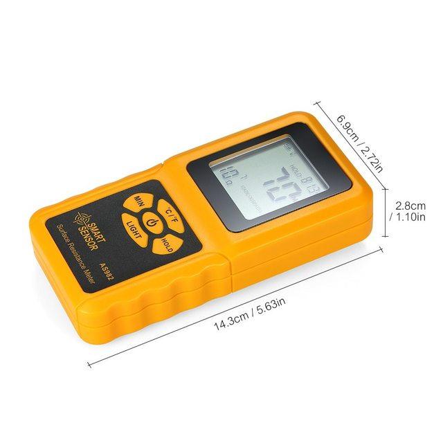 KKMOON AS982 المحمولة سطح المقاومة متر فاحص يده الأرض المقاومة متر بيانات عقد وظيفة شاشة الكريستال السائل