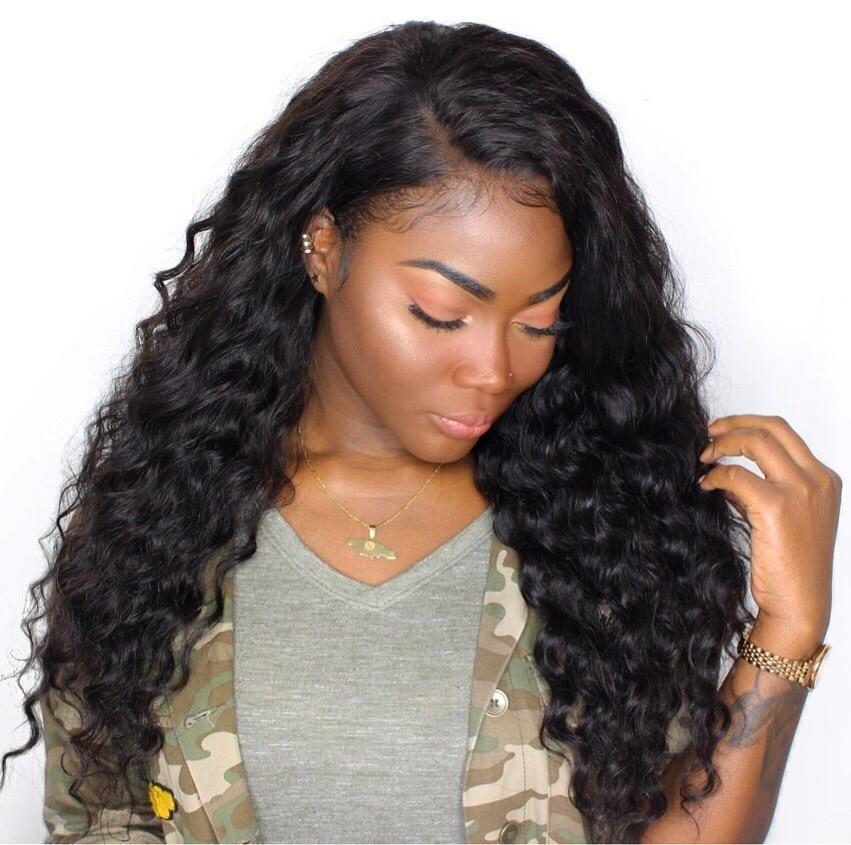 CARA Longgar Gelombang 250% Density Lace Depan Rambut Manusia Wig - Rambut manusia (untuk hitam)