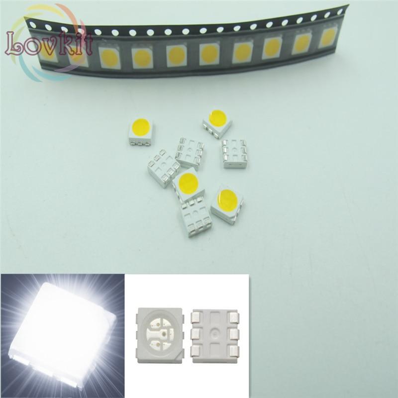 2020 100PCS SMD SMT 5050 PLCC-6 3-CHIPS LED White Light Emitting Diodes Chip