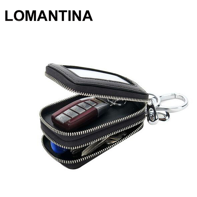 dee6e1f88766 LOMANTINA New Double Zipper Motor Key Case Knitting Men Car Key Holder  Genuine Leather Man Organizer