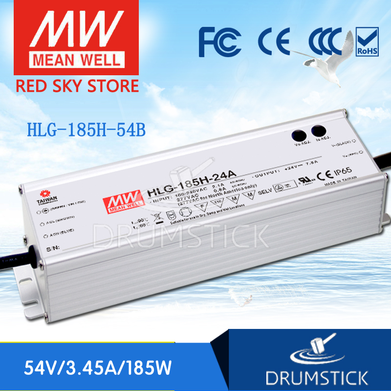 100% Original MEAN WELL HLG-185H-54B 54V 3.45A meanwell HLG-185H 54V 186.3W Single Output LED Driver Power Supply B type genuine mean well hlg 320h 54b 54v 5 95a meanwell hlg 320h 54v 321 3w single output led driver power supply b type