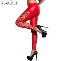 Femmes Sexy Rouge Brillant Wet Look legging Laçage et Goujons Côtés punk bout à bout de levage legging clubwear stretch bretelles legging 79879