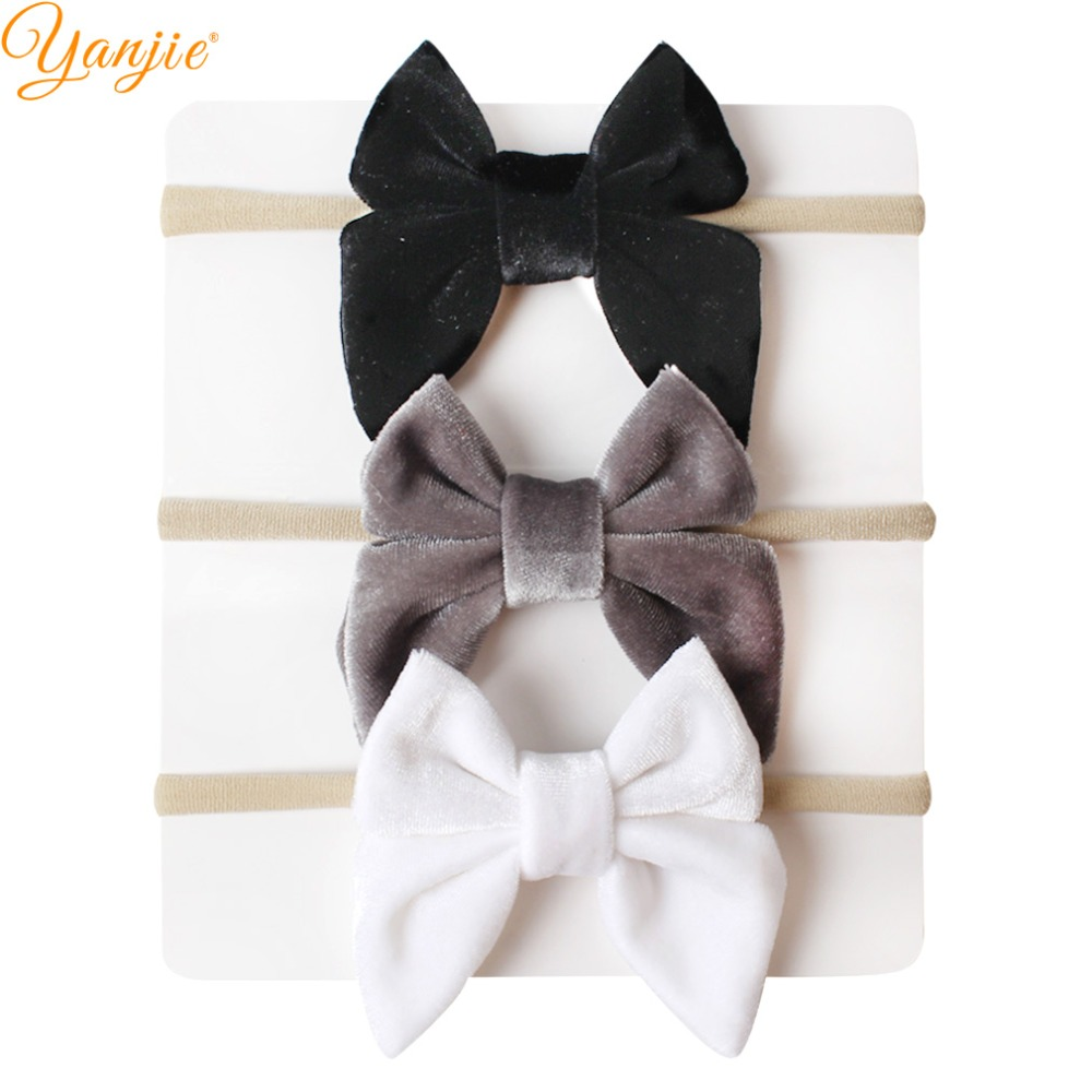 Image 3 - 12pcs/lot 3'' Velvet Bow Nylon Headbands For Girls Smooth Velvet Hair Bow Elastic Skinny Khaki Nylon Hair Band Hair Accessories-in Hair Accessories from Mother & Kids