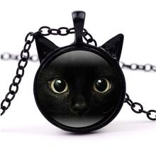 New Fashion Lovely Black Ins Cute Big Eyes Cat Necklace Photo Glass Cabochon Pendant with Two Ears Long Chain