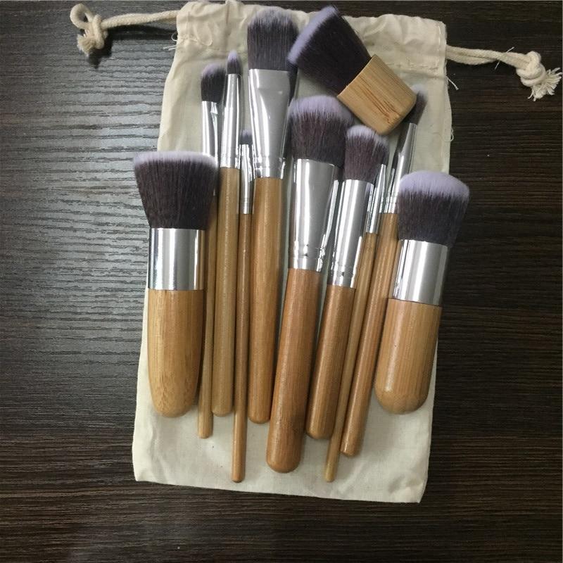 11 PCS Professionnel Maquillage Pinceaux Bambou Ombre À Paupières Pinceaux Maquillage Fondation Blush Kabuki Doux Brochas Maquillaje
