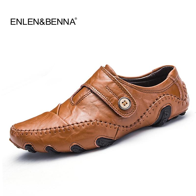 526b60870f Deslizar sobre de sobre de Couro dos Moda 2017 Homens Sapatos Casuais  Mocassins Flats Couro dos Moda Masculina Genuíno Trabalho Negócios