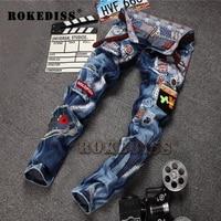 פרק מיקרו ג 'ינס של גברים-ההודעה Slim מכנסיים גברים מכנסיים תיקון פאנק אופנתי בגדי מעצבים מזויפים Pantalones vaqueros hombre B113
