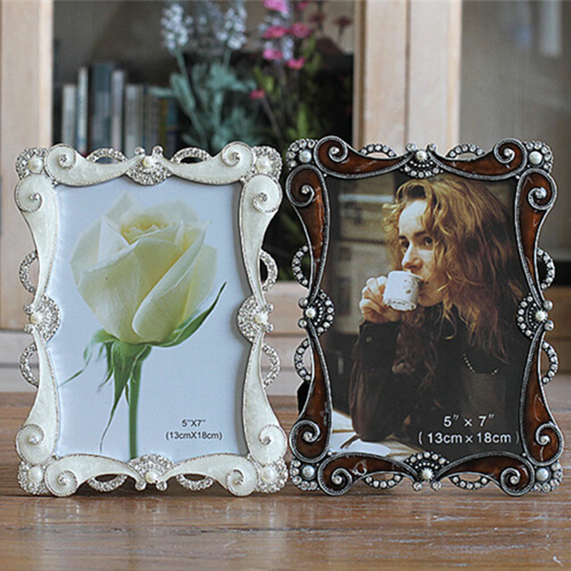 7inch Crystal Pearl Oval Wedding Photo Frame Metal Alloy: 7inch Vintage Rhinestone Pearl Photo Frames Coffee Metal