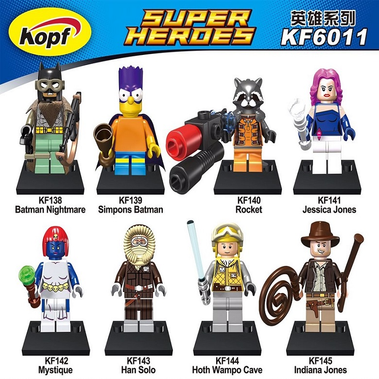 Building Blocks Super Heroes Star Wars Figures Simpsons Batman Nightmare Rocket Jessica Indiana Jones Mystique Kids Toys KF6011 single building blocks kits ninja pythor kozu lloyd zane nya figures super heroes star wars model bricks kids toys hobbies x0143