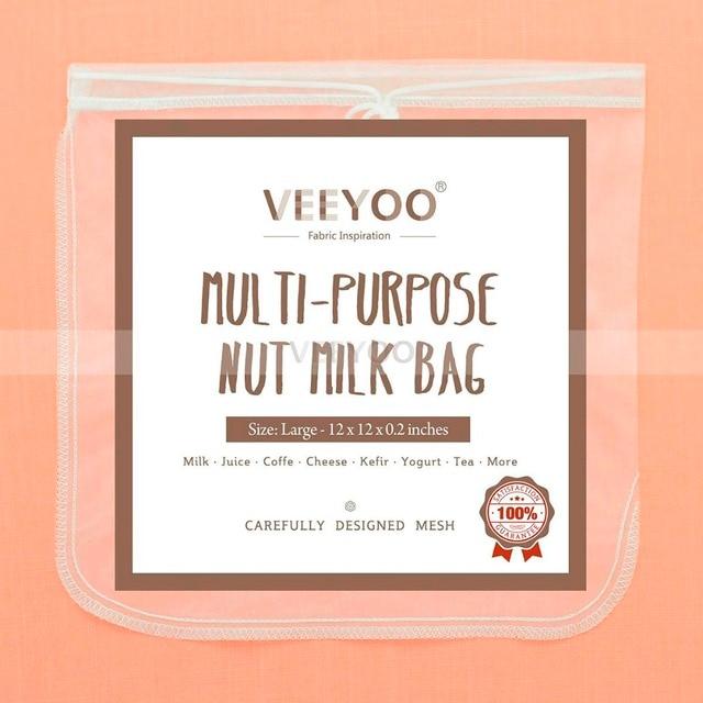12x12 Inches White Nylon Nut Milk Filter Bag Kitchen Sprout Tea Juice Coffee Yogurt Cheese