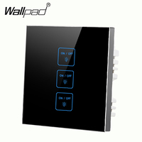 Luxury 3 gangs 2 way Black Free Customize touch wall switch Tempered Glass wall light switch LED touch switch Free Shipping