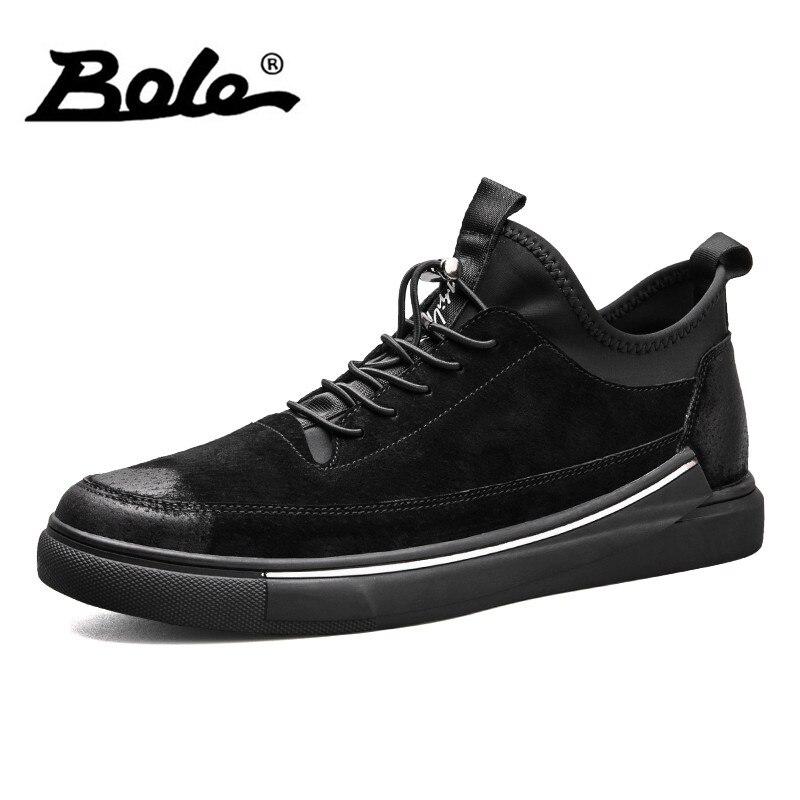 Боле Демисезонный Повседневное кожа Спортивная обувь Для мужчин Резиновые Нескользящие Обувь модные Кружево до Дышащие мужские туфли для вождения обувь на плоской подошве