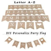 Индивидуальные вечерние флаги с буквами, A-Z, сделай сам, джутовая мешковина, баннеры, флаги, конфета, рождественское свадебное украшение, для детского душа