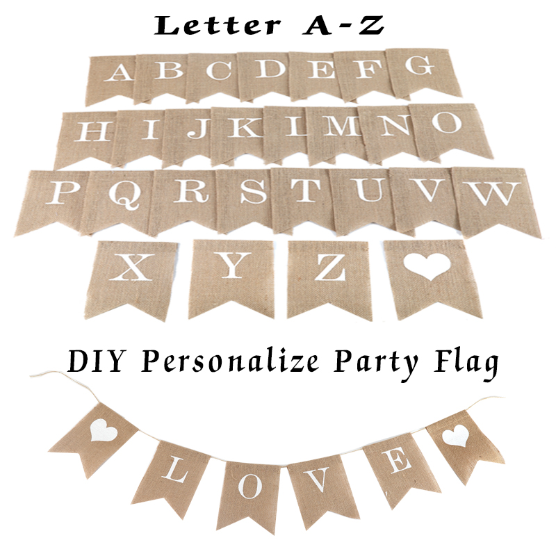 Personalize Party Flag Letter A-Z Diy Jute Burlap Bunting Banner Flags Candy Bar Christmas Wedding Decoration Baby Shower Favor