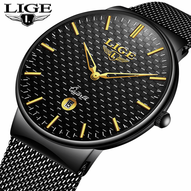 LIGE Watch Men Fashion Sports Quartz Steel Mesh Strap Mens Watches Top Brand Luxury Waterproof Business Watch Relogio Masculino a500g mens watches top brand luxury tvg brand men business casual watch stainless steel strap quartz watch fashion sports watche