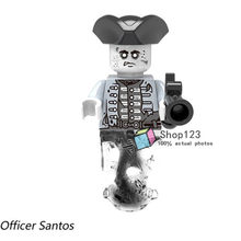 ce00fc5f2fefe 1PC Pirate of the Caribbean Officer Santos Henry Ghost Zombie Captain  Bricks Action Building Blocks Children