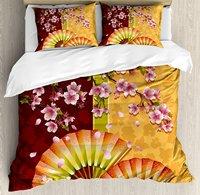 Floral Duvet Cover Set Sakura Blooms with Japanese Hand Fan Figures Authentic Asian Design 4 Piece Bedding Set
