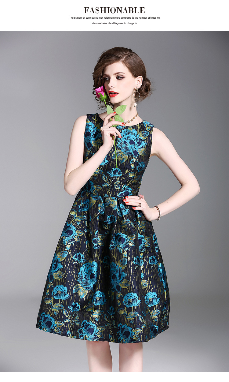 6689db099fa21 Luxury Blue Gold Floral Jacquard Vintage Dress Woman Dress 2018 Spring  Summer Dress Strand Jurkjes Robe Femme Zomer Jurk K3049 -in Dresses from  Women s ...