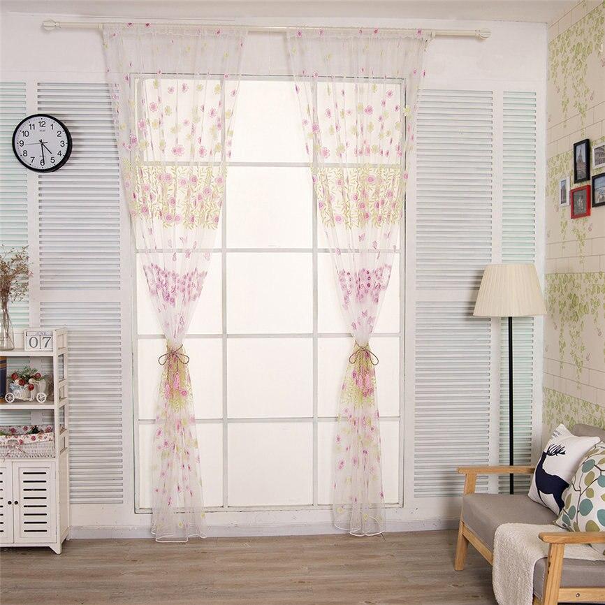 1 Pc Fenster Vorhang Blätter Sheer Vorhang Tüll Fenster Behandlung Voile Drapieren Valance 1 Panel Stoff 200*100 Cm Dropshipping Juni #6