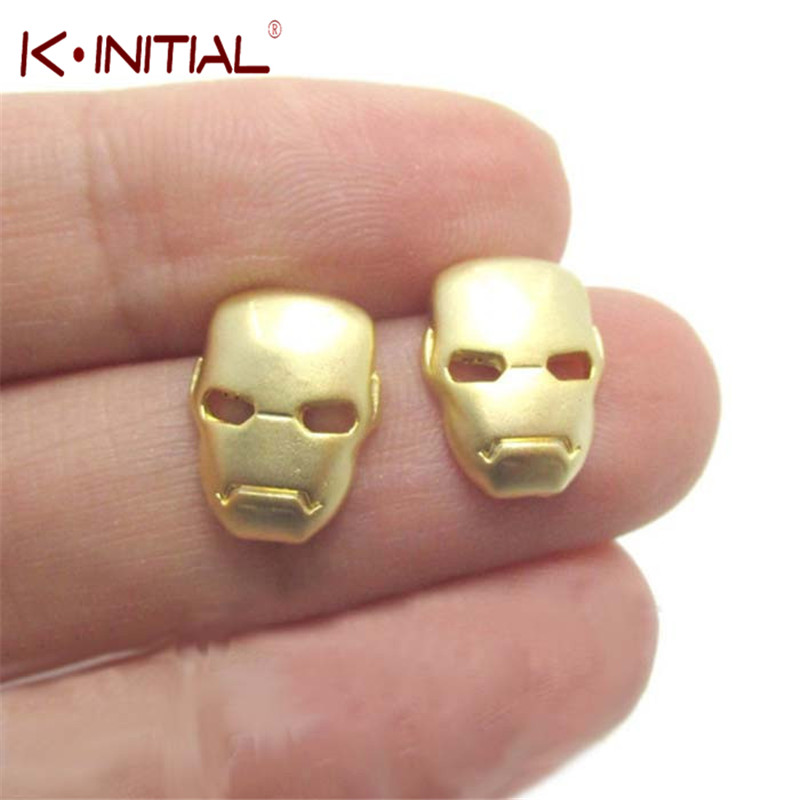 33b4f3790 Kinitial 1Pair Fashion GOLD SILVER IRON MAN MASK SHAPED STUD EARRINGS SUPER  HEROES THEMED JEWELRY for