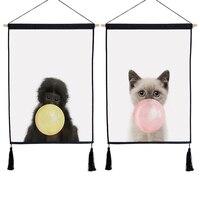 נורדי בועות Cartoon שטיח חדר ילדים ציור אמנות בד פוסטר הדפסת בעלי החיים חתול חמוד אורנגאוטן בד קישוט תלוי