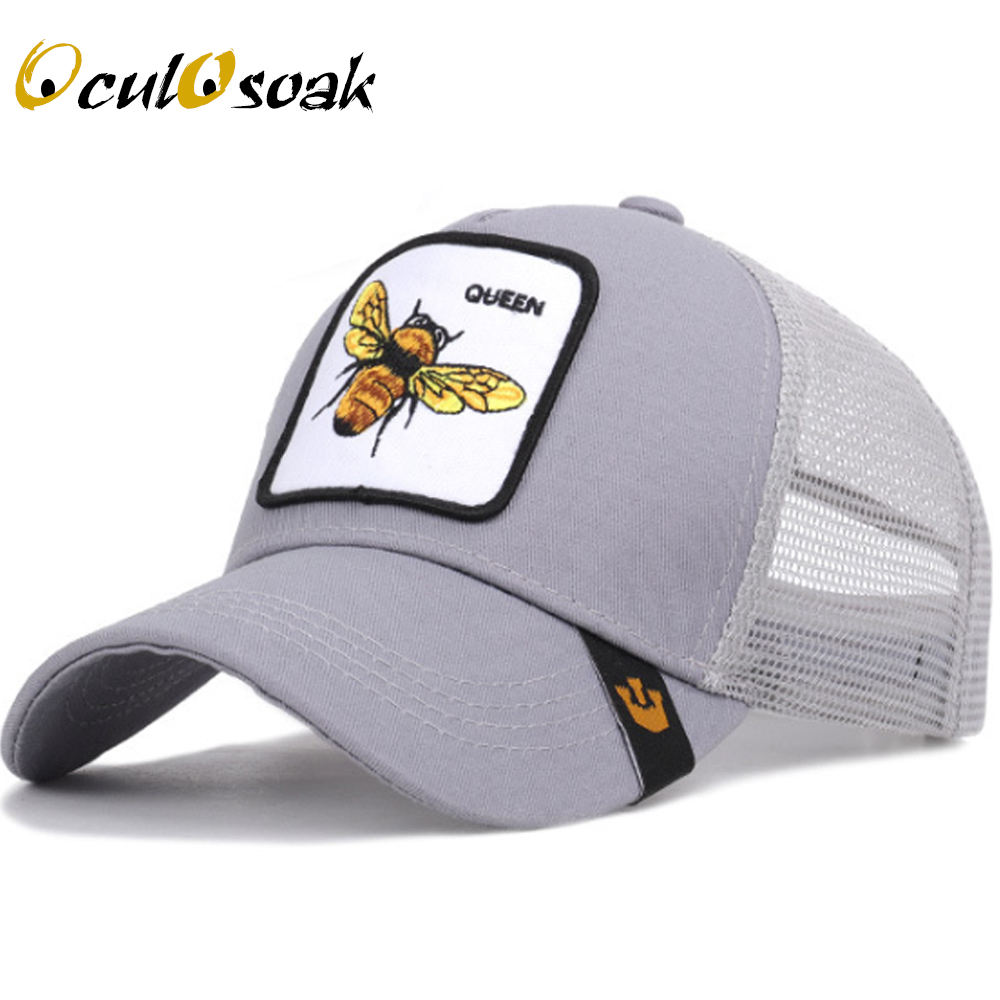 Summer Men's   Baseball     Cap   Animal Embroidery Bee Cartoon Duck Mesh Breathable Lady High Quality Outdoor Visor Truck Driver   Cap