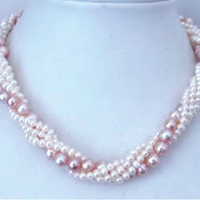 Free Shipping Torsional Natural White Purple Freshwater Cultured Pearl Round Beads Necklace Elegant Party Weddings Gifts