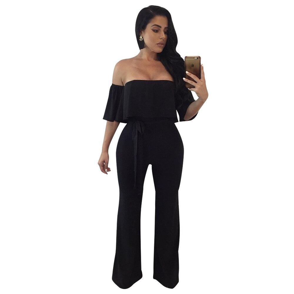 Adogirl 2018 Elegent Women Jumpsuit Sexy Off Shoulder Belted Full Length Black Casual Office Work Jumpsuits