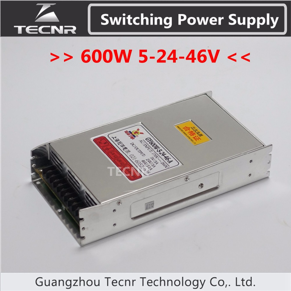 600W cnc router switching power supply ajustable 5V 24V 46V stepper motor power GY 600W 5 24 46 A