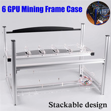 Open Air Aluminum Case 6 GPU Crypto Currency Mining Rig Frame Case Server Chassis